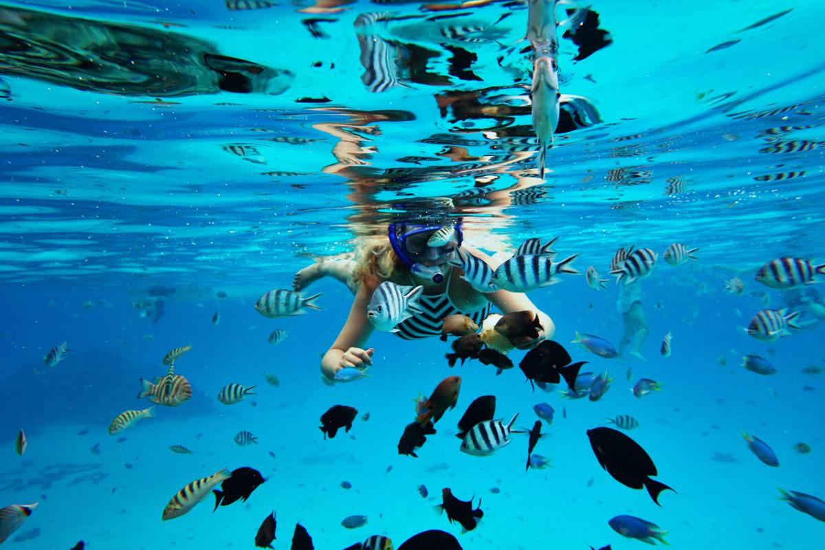 Photographer Shannon Skloss diving in Bora Bora