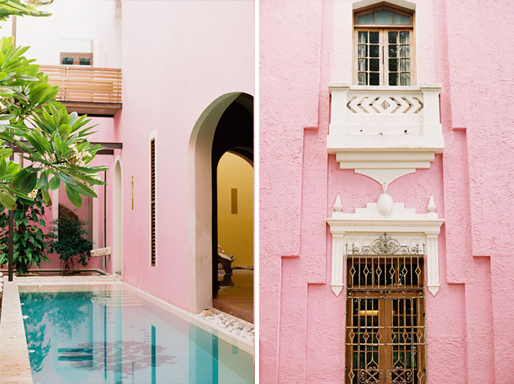 pink wall in Merida Mexico