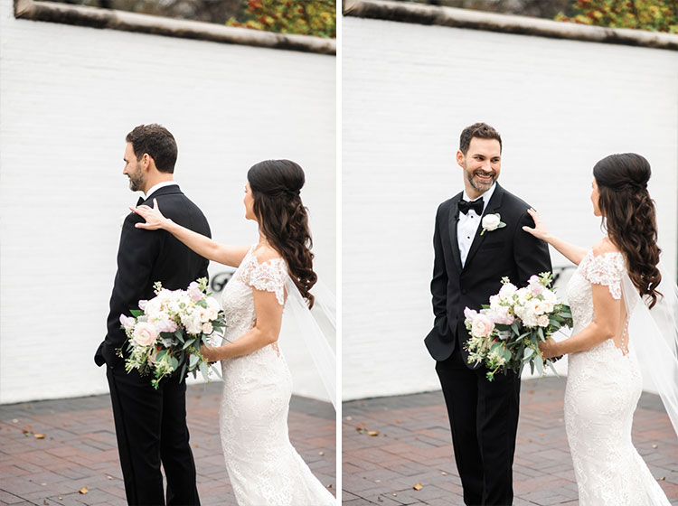 wedding first look of grooms expression by Shannon Skloss at Arlington hall in Dallas